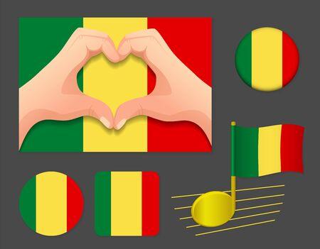 Mali flag icon. National flag of Mali vector illustration. Ilustração