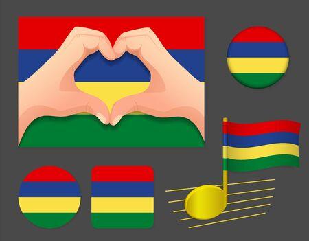 Mauritius flag icon. National flag of Mauritius vector illustration.