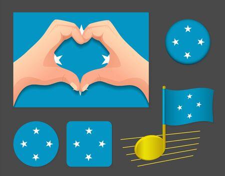 Micronesia flag icon. National flag of Micronesia vector illustration.