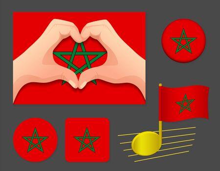 Morocco flag icon. National flag of Morocco vector illustration.