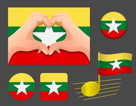 Myanmar flag icon. National flag of Myanmar vector illustration. Ilustração