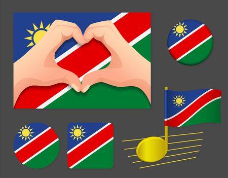 Namibia flag icon. National flag of Namibia vector illustration. Ilustração