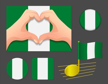 Nigeria flag icon. National flag of Nigeria vector illustration.