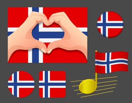Norway flag icon. National flag of Norway vector illustration.