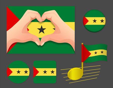 Sao Tome and Principe flag icon. National flag of Sao Tome and Principe vector illustration.