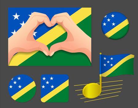 Solomon Islands flag icon. National flag of Solomon Islands vector illustration.