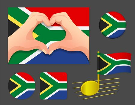 South Africa flag icon. National flag of South Africa vector illustration.