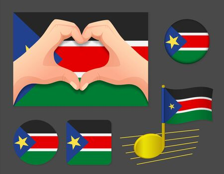South Sudan flag icon. National flag of South Sudan vector illustration.