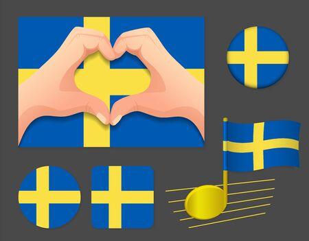 Sweden flag icon. National flag of Sweden vector illustration.