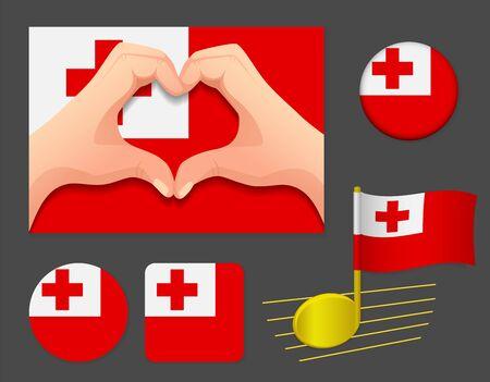 Tonga flag icon. National flag of Tonga vector illustration. Ilustração