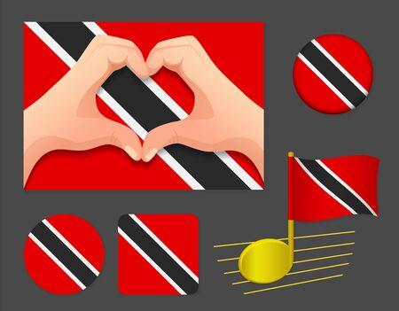 Trinidad and Tobago flag icon. National flag of Trinidad and Tobago vector illustration. Ilustração