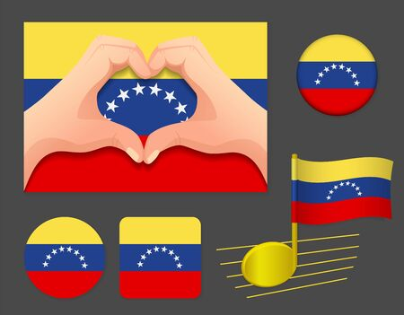 Venezuela flag icon. National flag of Venezuela vector illustration.