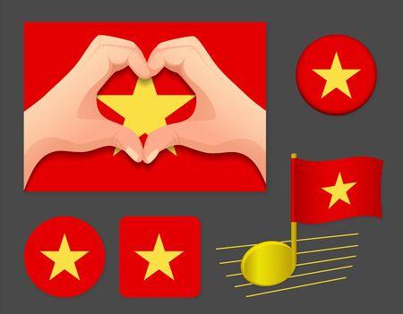Vietnam flag icon. National flag of Vietnam vector illustration.