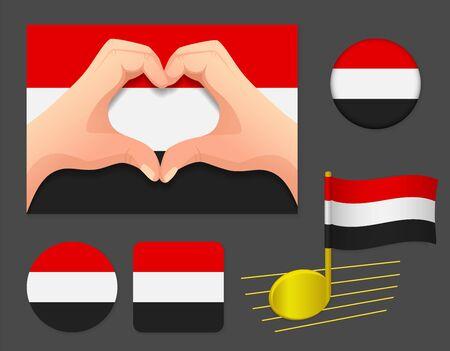 Yemen flag icon. National flag of Yemen vector illustration. Ilustração