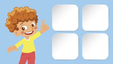 Smiling boy points a finger. Stickers vector illustration