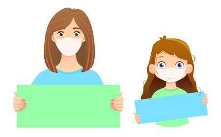 Woman in mask holding sign. Girl in mask vector illustration