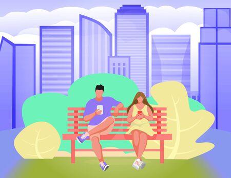 Man and woman on bench in city park. Park bench Vector Illustration Ilustração