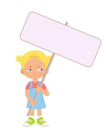Girl holding banner. Vector illustration
