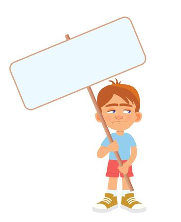 Boy holding banner. Vector illustration