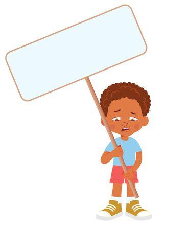African Boy holding banner. Vector illustration