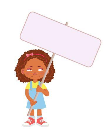 African Girl holding banner. Vector illustration