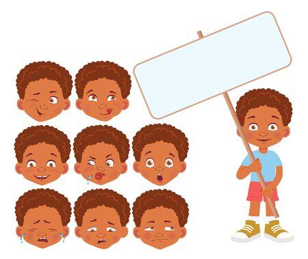 African Boy holding banner set. Vector illustration
