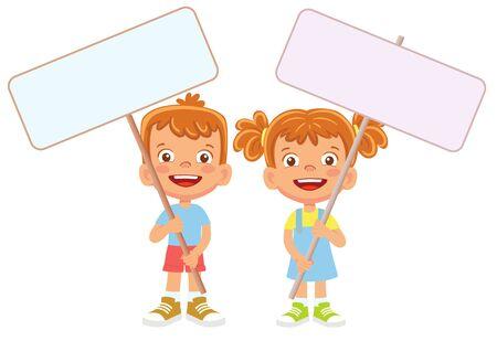Child holding banner. Vector illustration 矢量图像