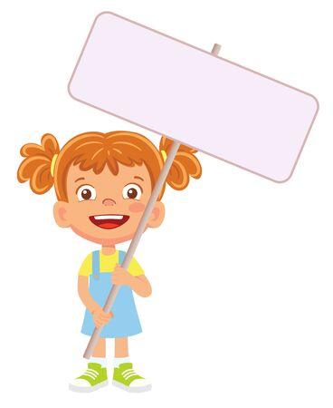 Girl holding banner. Vector illustration 矢量图像