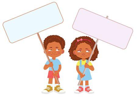 African Child holding banner. Vector illustration