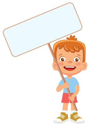 Boy holding banner. Vector illustration 矢量图像