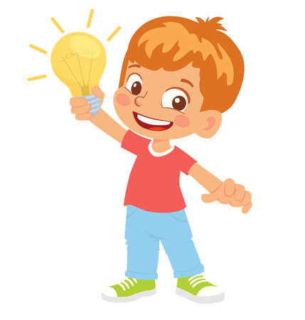 Boy holds electric lamp. Concept of innovative idea Stockfoto - 151101469