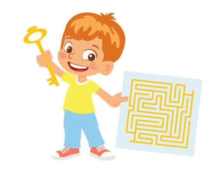 Boy holds key and maze