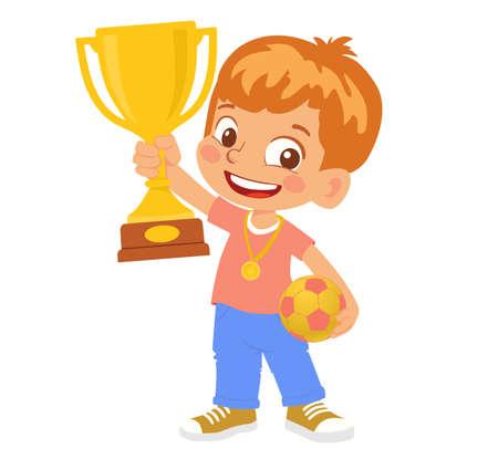 Boy soccer player winner. Little Boy holding gold cup