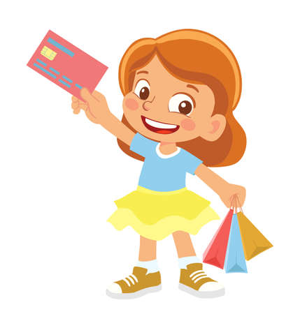 Girl holds credit card. Cheerful young girl holding shopping bags Vector Illustratie