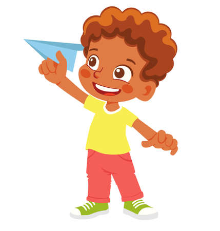 African American Boy holds paper plane. Happy kid playing with paper airplane