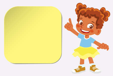 African American Smiling girl points finger. Children infographics with sticker
