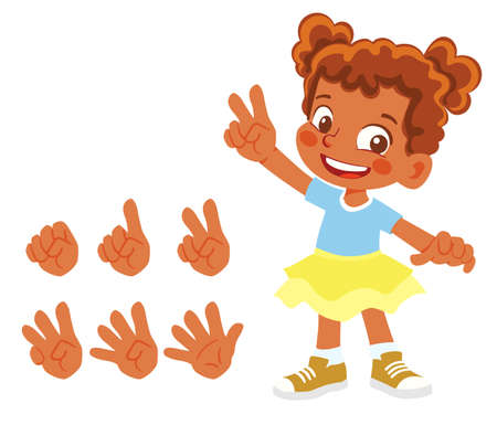African American Fingers show numbers. Girl finger count