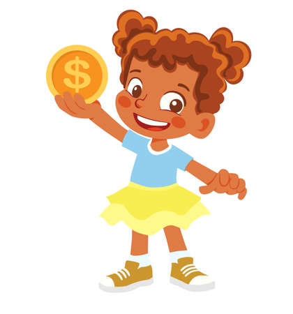 African American Girl holds coin. Gold coin in hand