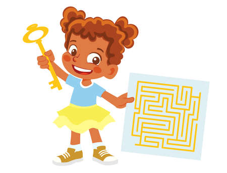 African American Girl holds key and maze Çizim