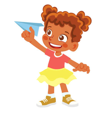 African American Girl holds paper plane. Happy kid playing with paper airplane Çizim