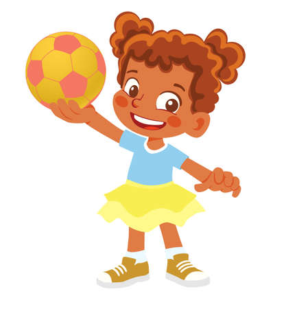 African American Girl holds soccer ball. Young girl standing with ball Çizim