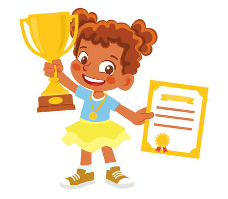 African American Girl with gold winner cup