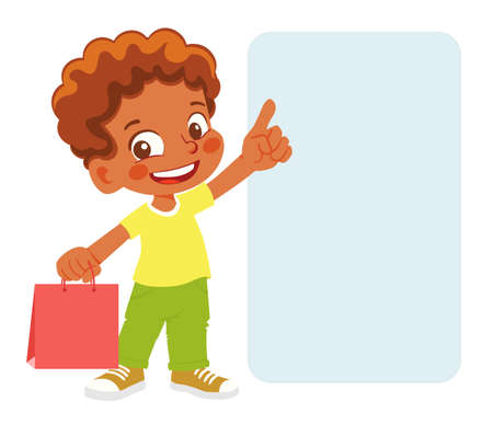 African American boy with purchases. Boy points finger