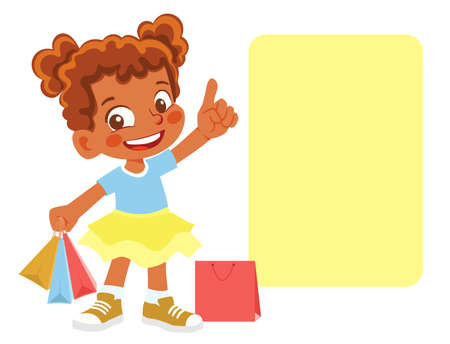 African American girl with purchases. Girl points finger