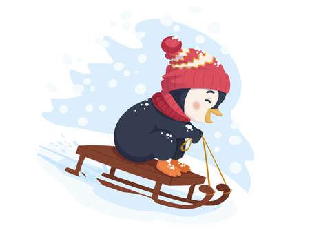 Funny penguin sledding