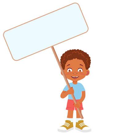 African Boy holding banner