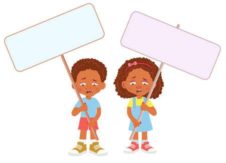 African Child holding banner 免版税图像