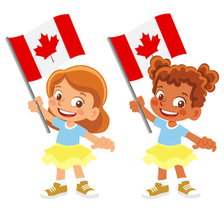 Canada flag in hand set