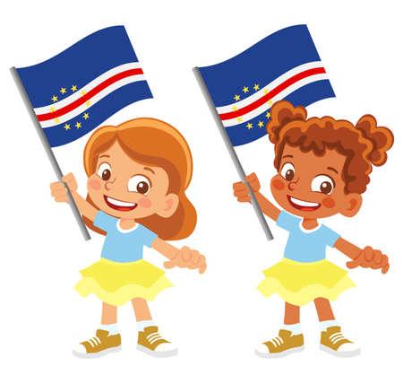 Cape Verde flag in hand set 矢量图像