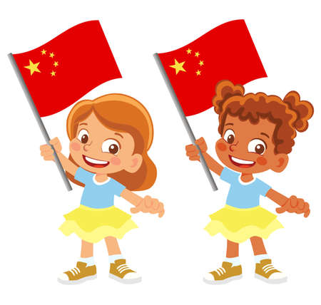 China flag in hand set